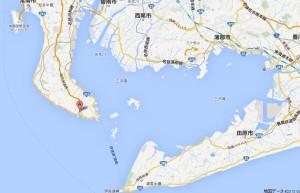 愛知県の南部分。Aの場所がまると水産さん。
